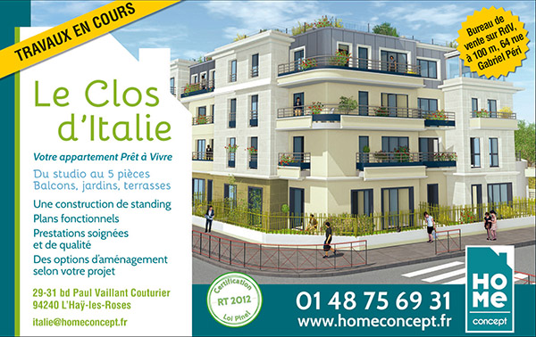 Immobilier neuf l 39 hay les roses 94240 le clos d 39 italie for Garage renault l hay les roses